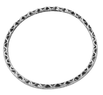 Twisted Circle Link 2 Lead and Nickel Free 30mm A Silver Ring