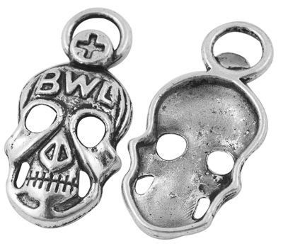 40mm Antique Silver Large Skull Lead and Nickel Free