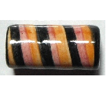 Peruvian Hand Painted Ceramic Bead - Large Tube 01