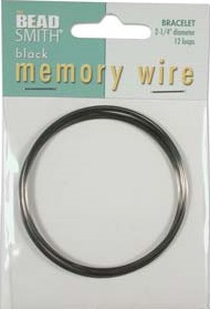 2.25 inch Black Plated Memory Wire 12 Coils