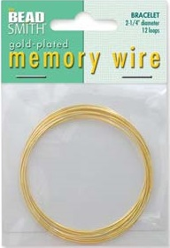 2.25 inch Gold Plated Memory Wire 12 Coils