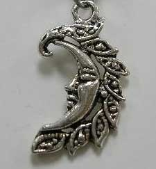 25mm Antique Silver Moon Charm 2 Lead and Nickel Free