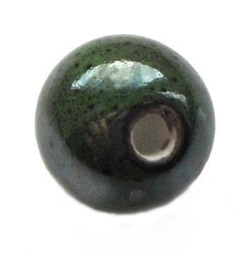 Handmade Pearlised Porcelain Beads - 12mm Olive Green