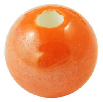 Handmade Pearlised Porcelain Beads - 12mm Orange