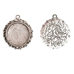 20mm .999 ASilver Plated Patera Ornate Single Round Bezel 2 pack