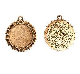 30mm 24K Gold Plated Patera Ornate Round Single Loop Bezel