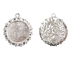 20mm .999 SSilver Plated Patera Ornate Single Round Bezel 2 pack