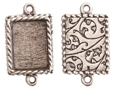 14x18mm .999 ASilver Plated Ornate Double Rectangle Bezel 2 pack