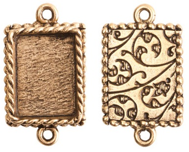 14x18mm 24K Gold Plated Ornate Double Rectangle Bezel 2 pack