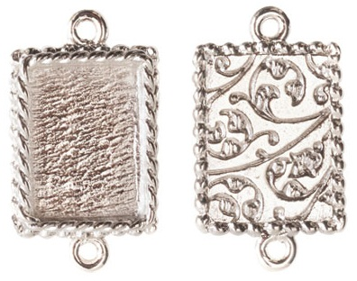 14x18mm .999 SSilver Plated Ornate Double Rectangle Bezel 2 pack