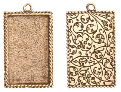 14x18mm 24K Gold Plated Ornate Single Rectangle Bezel 2 pack