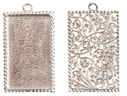 14x18mm .999 SSilver Plated Ornate Single Rectangle Bezel 2 pack