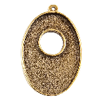 25x38mm 24K Gold Plated Patera Single Loop Toggle Oval Bezel