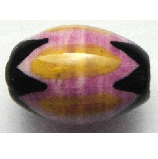 Peruvian Hand Painted Ceramic Bead - Oval 01