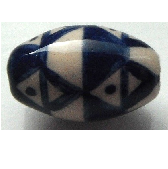 Peruvian Hand Painted Ceramic Bead - Oval 10