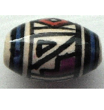 Peruvian Hand Painted Ceramic Bead - Oval 11
