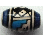 Peruvian Hand Painted Ceramic Bead - Oval 15
