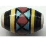 Peruvian Hand Painted Ceramic Bead - Oval 18