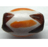 Peruvian Hand Painted Ceramic Bead - Oval 03