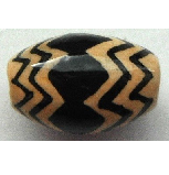 Peruvian Hand Painted Ceramic Bead - Oval 04