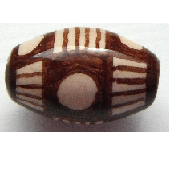 Peruvian Hand Painted Ceramic Bead - Oval 05