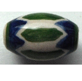 Peruvian Hand Painted Ceramic Bead - Oval 07