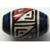 Peruvian Hand Painted Ceramic Bead - Oval 09