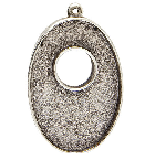 25x38mm .999 A Silver Plated Patera Single Loop Toggle Oval