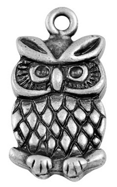 16mm Antique Silver Owl 1  Lead and Nickel Free