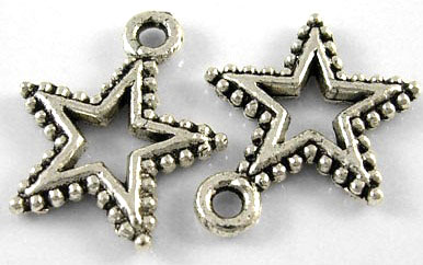 17.5mm Antique Silver Patterned Star Lead and Nickel Free