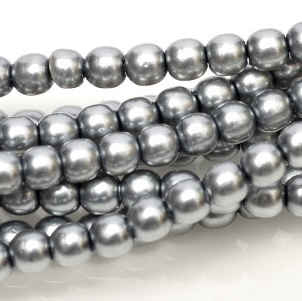 100 Pack 2mm Czech Glass Pearls Grey 24951