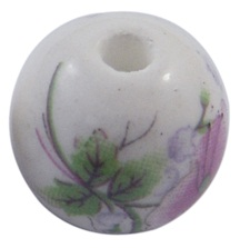 Handmade Porcelain Beads - 12mm Multi coloured Floral