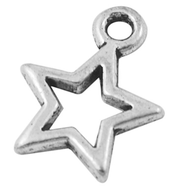 14mm Antique Silver Plain Star Lead and Nickel Free