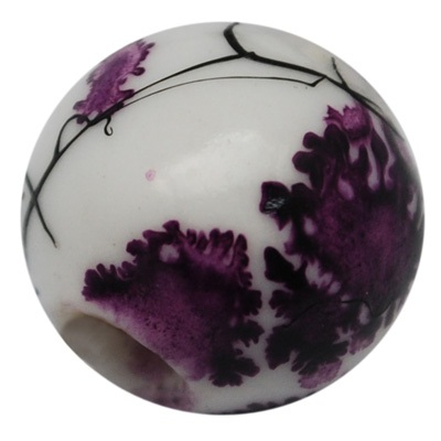 Handmade Porcelain Beads - 11 mm random purple/black pattern