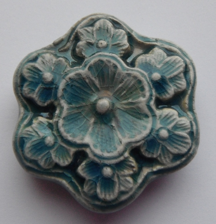 Peruvian Bead - Raku Glazed Flower Bead