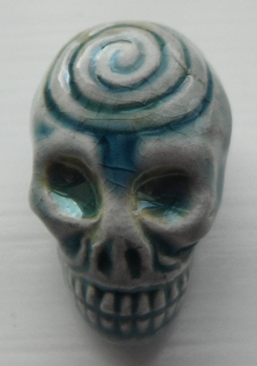 Peruvian Bead - Raku Glazed Skull with Swirl Pattern