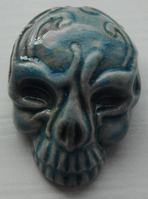 Peruvian Bead - Raku Glazed Skull with Mask