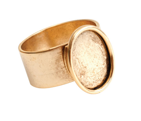 24K A. Gold Plated Patera Ring with 14x10mm Oval Bezel