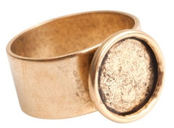 24K A Gold Plated Patera Ring with 11mm Circular Bezel