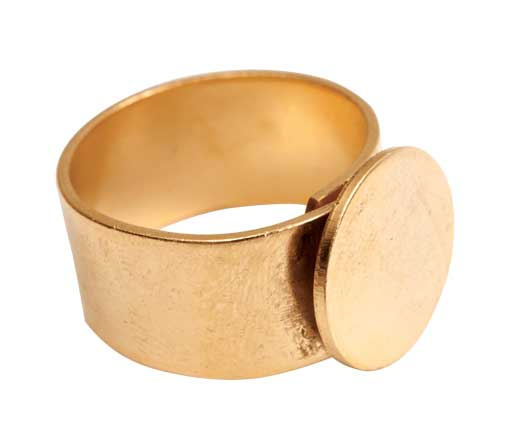 24K A. Gold Patera Ring with 13mm Circular Blank