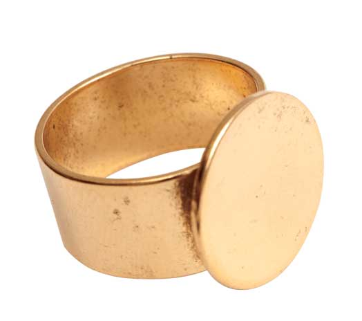 24K A. Gold Plated Patera Ring with 16mm Circular Blank