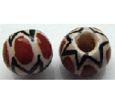 Peruvian Hand Painted Ceramic Bead - Round 03