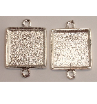 13mm .999 S Silver Plated Patera Double Loop Square Bezel 2 pack