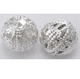 S13 8mm Silver Filigree Round Bead 22 pack