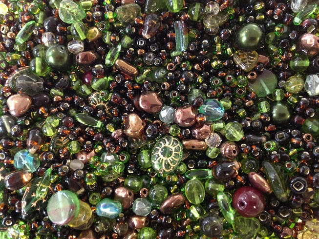 A 25 gram mix of assorted Czech glass beads, Forest Floor