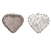40x38mm .999 A Silver Plated Patera Ornate Heart Bezel
