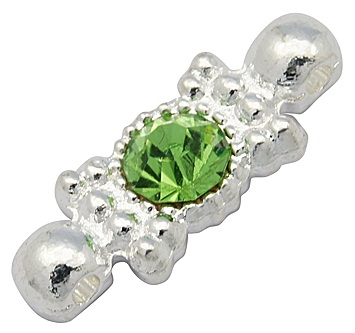 2 Hole Alloy and Rhinestone Spacer Silver/Green