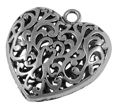 36mm Antique Silver Filigree Heart Lead and Nickel Free