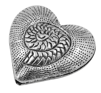 31mm Antique Silver Colour Fossil Heart Lead and Nickel Free
