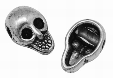 10.5mm Antique Silver Skull Number 2 Lead and Nickel Free